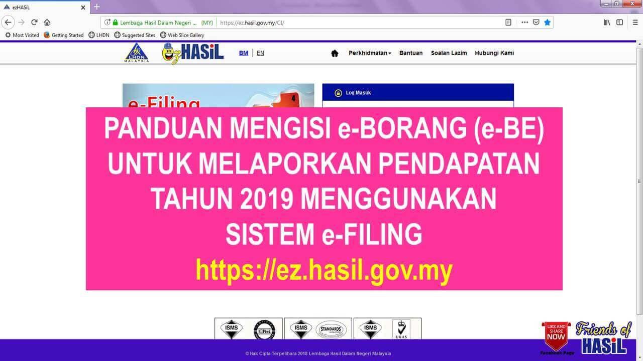 Cara Isi e-Filling Borang Cukai Pendapatan (e-BE)