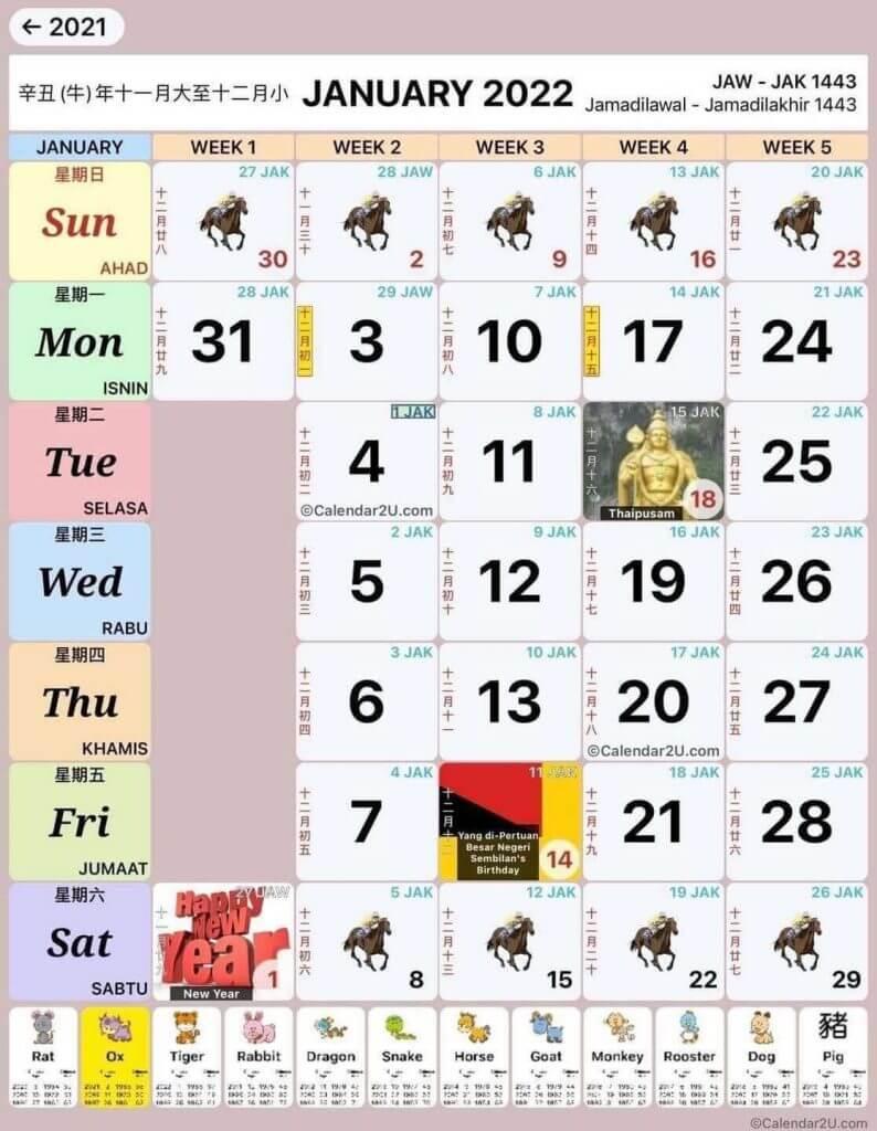 kalendar januari 2022